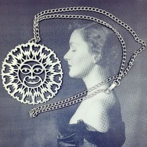 Vintage Pewter Reed and Barton Sun Face Necklace